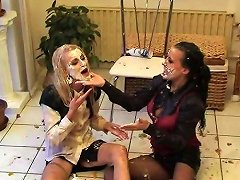Perverted Cake Party With Two Blonde And Brunette Milfs