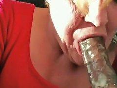 Dirty Granny Eating Cum Blow