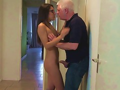Nerdy Teen Babe Gets Pleasured By A Much Older Man