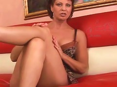Magnificent Cougar With Fake Tits Gets Her Shaved Pussy Hammered Until Orgasm