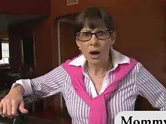 Mature Stepmom Spanks Teen While She Sucks