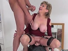 Unfaithful English Mature Lady Sonia Shows Off Her Massive Balloons