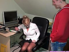 German Mature Mom Secretary In Offce Fuck From Young Guy